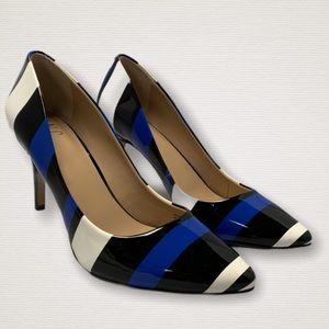 Inc woman's zitah pointed toe pump blue stripes